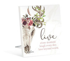 French Country Inspired Art Boho Skull Live Every Moment Wooden Sign New