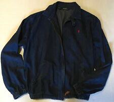 Polo Ralph Lauren Men's blue Denim Club Jacket Large Zip Up Bomber elastic waist
