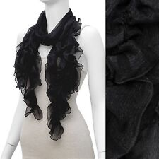 Ruffle Chiffon Scarf, Black - The Perfect Gift For Her!