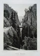 Via Mala  Canton Graubünden   Schweiz  echter alter Stahlstich 1850