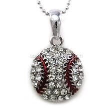 Clear Crystal Baseball Sports Pendant Necklace Teen Fashion Jewelry Enamel Charm