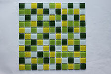 Crystal Glass Mosaic Tiles - Kitchen/Bathroom/Feature Walls - Green/Yellow Mix