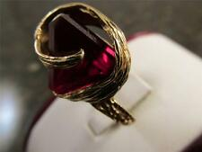 Vintage  Unique  Facet  Cut  Ruby Pyramid Step Cut 14k Solid Gold Ring Size 6.25
