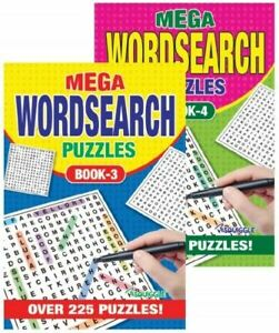 WORD SEARCH Mega Puzzle Books Set of 2  Size A5 Paperback 225 Puzzles per Book