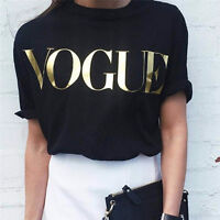 Women Ladies Short Sleeve Vogue Slogan Gold Foil Printed Casual T Shirt TopTe PQ