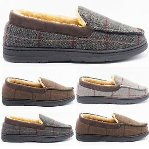 MENS CHECK WARM MOCCASINS FAUX SUEDE SHEEPSKIN FUR LINED WINTER SLIPPERS SHOES