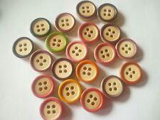 50 x 15mm Round Wooden Buttons 15mm Blue Mix