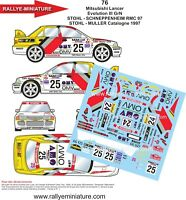 DECALS 1/43 REF 76 MITSUBISHI LANCER STOHL RALLYE MONTE CARLO 1997 RALLY WRC