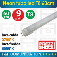 NEON TUBO LAMPADA LED 60 CM T8 220V LUCE FREDDA LUCE CALDA OFFERTA