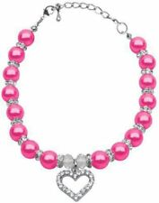 Mirage Pet Products Pink Heart and Pearl Necklace