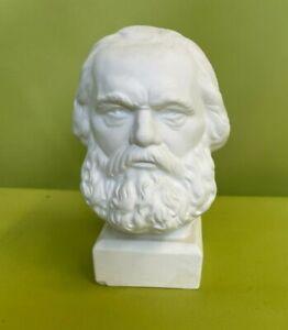 Ehrengeschenk Karl Marx Büste Gips weiß ca. 13 x 9 cm