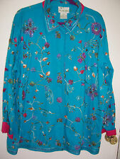 QUACKER FACTORY Turquoise Beaded & Embroidered  Jacket 1X