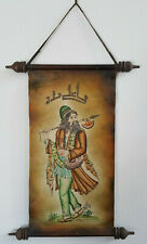 """Vintage Persian Painting On Leather Scroll """"Wondering Dervish"""", Great Condition!"""