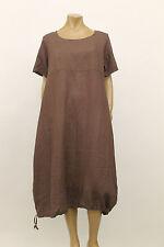 CHEYENNE LINEN DRAWSTRING SHORT SLEEVES PULLOVER TUNIC DRESS BROWN Sz O/S $300
