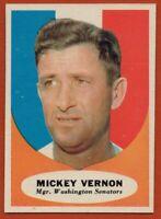 1961 Topps #134 Mickey Vernon Near Mint / Mint+ Washington Senators FREE SHIP