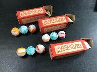 3 Boxes~ALLIES~Alley Agate Co. White-Based Swirls~Original~3 ONYX Marbles~ NOS