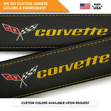 Car Seat Belt Covers Shoulder Pads Yellow Embroidery Chevrolet Corvette C3