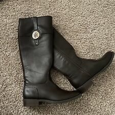 Tommy Hilfiger Brown Leather Women Boots Mid Calf Size 6