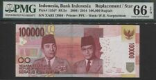 Tt Pk 153d* 2004 Indonesia 100,000 Rupiah Replacement Star Pmg 66Q Tied As Best!