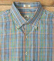 Peter Millar Mens Long Sleeve Button Down Cotton Shirt Sz Large Multicolor Check