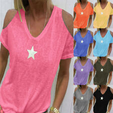 Women Solid V Neck Short Sleeve Cold Shoulder Blouse T Shirt Causal Tunic Tops