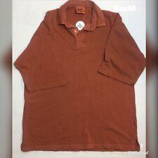 "Mens Front Row Heavy Cotton Orange Polo Neck Shirt Size XL P-P 24"" Length 29"""
