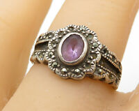 925 Sterling Silver - Vintage Marcasite & Amethyst Floral Band Ring Sz 6 - R4718