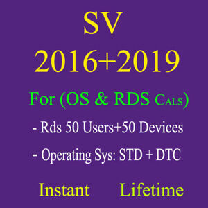 Rds Cals SV 2016 2019 50 users, devices or Std and Dtc for Operating System