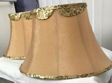 """Set Of Two Chic Gold Tan Fabric Bell Shape Lamp Shade Lined 11"""" H X 17"""" W"""