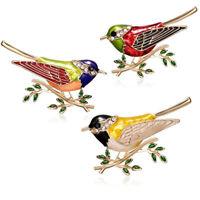 Lovely Birds Enamel Crystal Rhinestone Brooch Pin Womens Costume Jewellery Gift