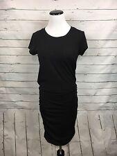 ATHLETA Women's black topanga tee dress rouched crew neck S casual short sleeve