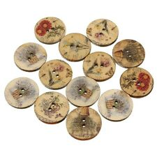 "Lot of 10 Assorted FLOWERS Wooden Button 3/4"" (20mm) Scrapbook Crafts (4888)"