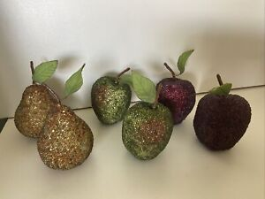 4 Apples & 2 Pears Beaded Decorative Fruit Home Decor Kitchen Tabletop
