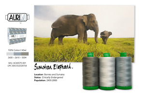 Aurifil 40WT Colour Builders Sumatran Elephant Grey x 3 Spools