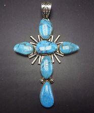 HUGE Signed Vintage NAVAJO Sterling Silver & Turquoise CROSS PENDANT