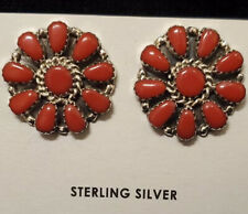 Native American Navajo Indian Cluster Post Red Coral Earrings
