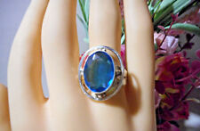 Blue Topaz ring in silver setting, bezeled, oval in shape. Size 9