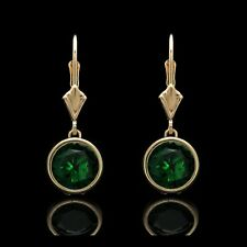 4.00 Ct Green Emerald Bezel Lever-back Earrings 14k Solid Yellow Gold Round Cut