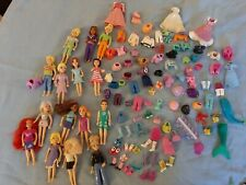 POLLY POCKET DOLLS Lot Vintage Rubber disney and other clothes  used