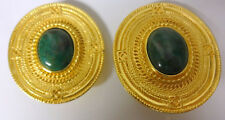 Vintage Peru Couture Runway Fashion Chunky Faux Turquoise Gold Tone Earrings