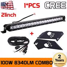 21inch 100W LED Light Bar+Upper Engine Hood Mount Bracket For Jeep JK+Wiring Kit