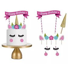 1 Set Unicorn Cake Topper Happy Birthday Candle Party Supplies Decor Tool DIY EB