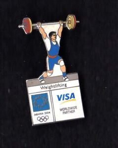 ATHENS 2004 OLYMPIC GAMES. SPONSOR PIN. VISA. WEIGHTLIFTING