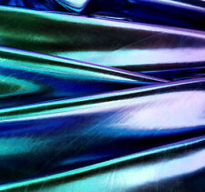 "Spandex Metallic Lycra Mermaid Blue 4 Way Stretch Fabric 58"" Oil Slick Danceware"