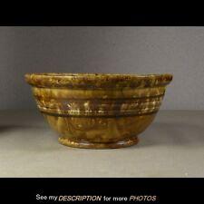 Early Bennington / Rockingham Yellowware Banded Mixing Bowl Great Glaze