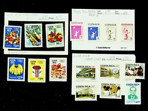 COSTA RICA CHRISTMAS FRUITS ARCHITECTURE 16v MINT STAMPS CV $11.25