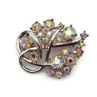 Antique Vintage Silver Tone  Aurora Borealis Rhinestone Brooch Pin 1.82 Inch