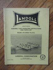 Landoll Model 875 Wing Tilloll Assemblly and Operating instruction & parts list