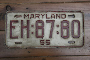 American license plate Maryland 1956 # EH 87 80