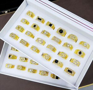 24pcs Wholesale Mixed Lots Gold P Ring Men's Cool Alloy Rhinestone Enamel Rings